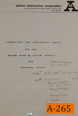 Anilam Bt Series Dro Measuring System Instruction Maintenance Manual 1977