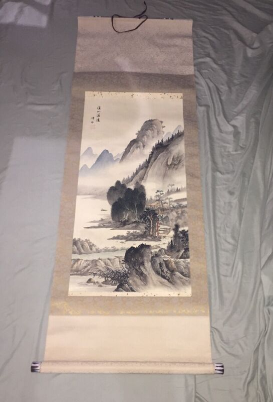 """LARGE VINTAGE CHINESE ORIGINAL WATERCOLOR SCROLL MOUNTAIN PAINTING SIGNED - 63"""""""