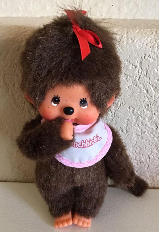 "MONCHHICHI girl Sekiguchi 7.75"" Pink Bib Monchichi Plush Monkey Doll"