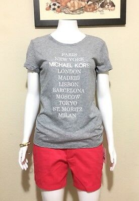 MICHAEL KORS WOMEN'S City Graphic Signature T-Shirt - Heather Grey/Medium