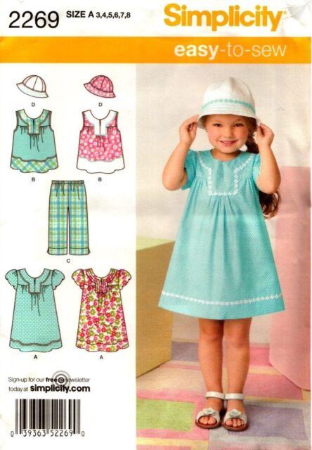 Simplicity Pattern 2269 Child's Dress, Top, Pants, Hat 3, 4, 5, 6, 7, 8 NEW