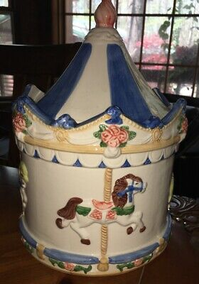 "Cookie Jar Carousel Horse Large approx. 16"" tall Merry Go Round"