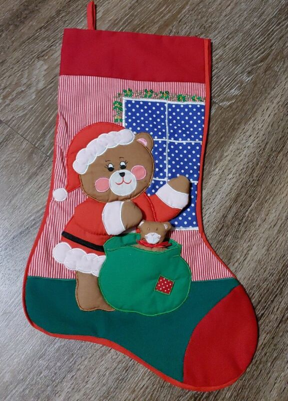 RARE BEAUTIFUL VINTAGE 1989 Kubla Crafts Christmas Stocking Teddy Bear HANDMADE