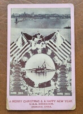 BULLDOG OF THE NAVY BATTLESHIP USS OREGON CABINET PHOTO SHANGHAI CHINA NEW YEAR