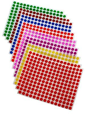 """Colored Coding Round Labels ¼"""" Inch 8mm Dots Map Circular Stickers 2688 Pack"""