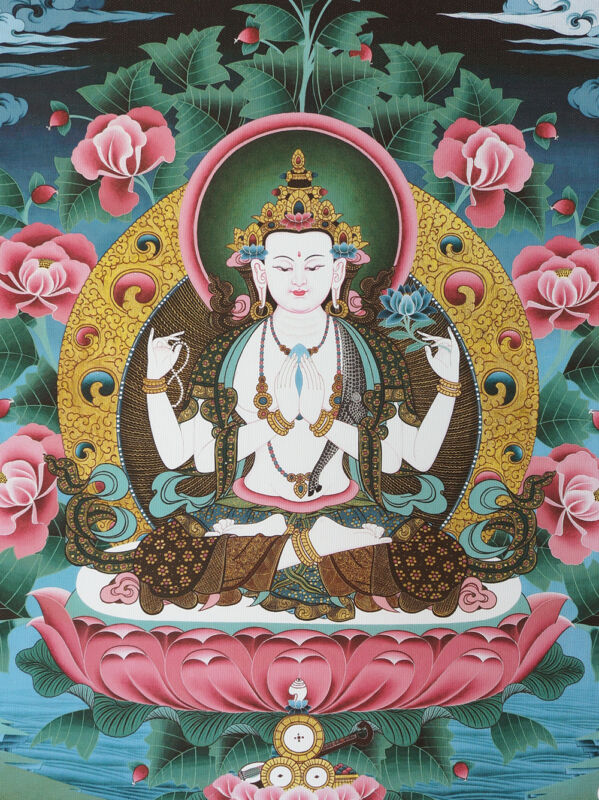 "16"" TIBETAN THANGKA PAINTING POSTER : CHENZIG AVALOKITESHVARA ON LOTUS RIVER"