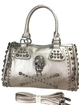 Zzfab Boston Bag Studded Skull Satchel Metalic Pewter B704-PT