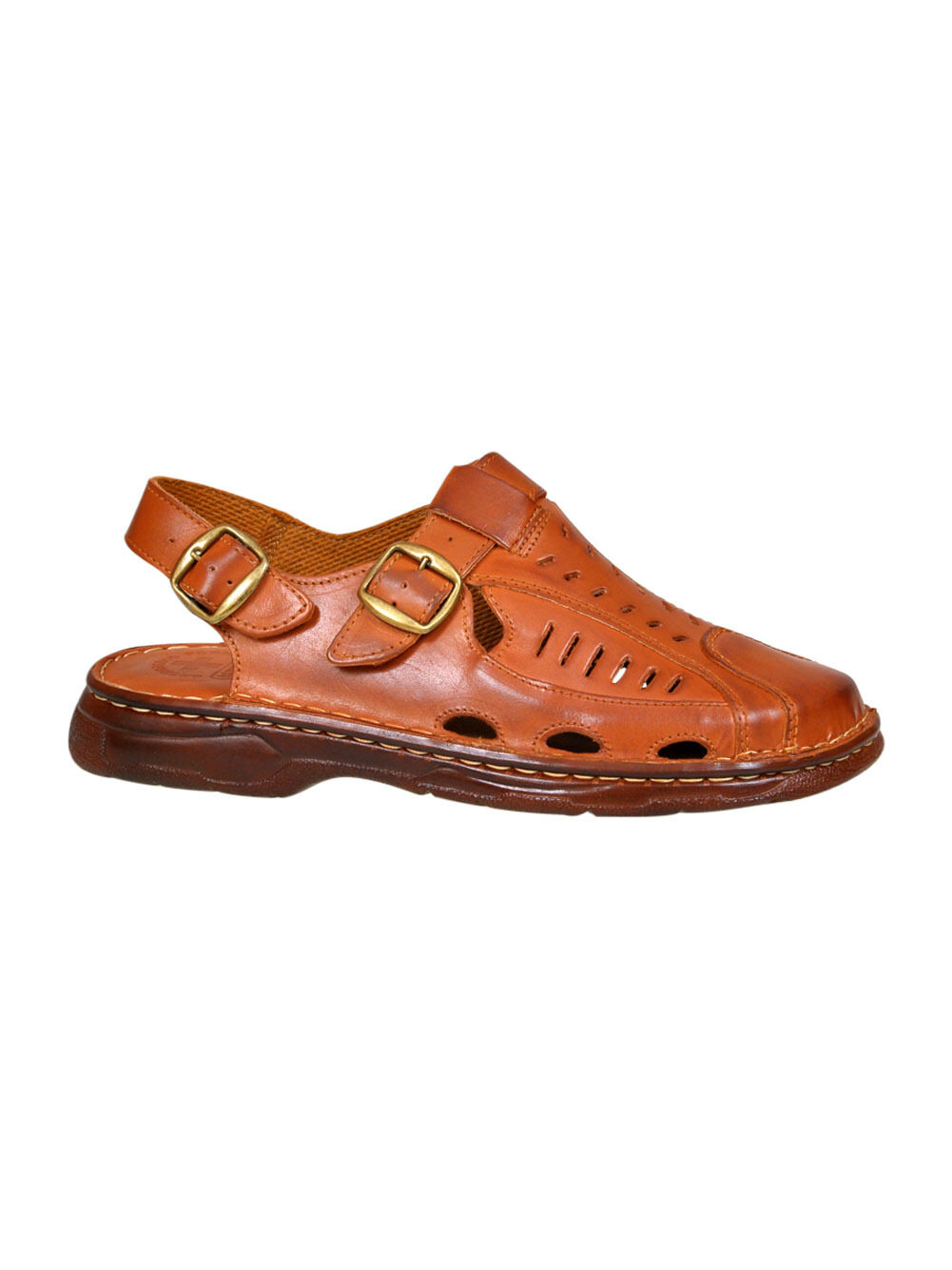 New Natural Buffalo Leather Slip On Sandals Shoes for Men UK Size 7 8 9 10 11