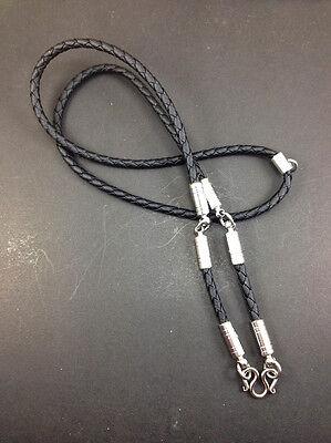 Rare Necklace Rope Leather Black Buddha Buddhist Amulet thai for Pendant 3 Hook