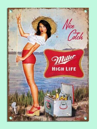 Miller Beer Girl Fishing Bar Den Aluminum Metal Sign 8x12 INCH