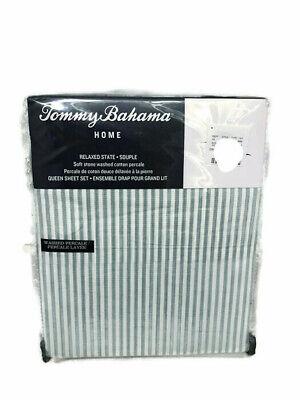 Tommy Bahama Paloma Beach Stripe Blue Green Stone Washed Cotton Sheet Set - Beach Stripe Bedding Sheets