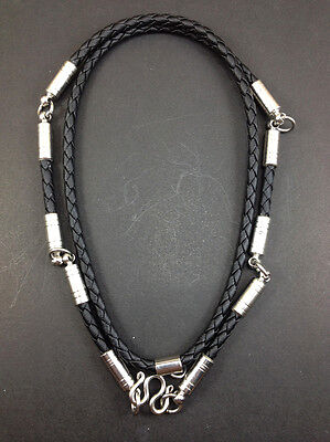 Rare Necklace Rope Leather Black Buddha Buddhist Amulet thai for Pendant 5 Hook