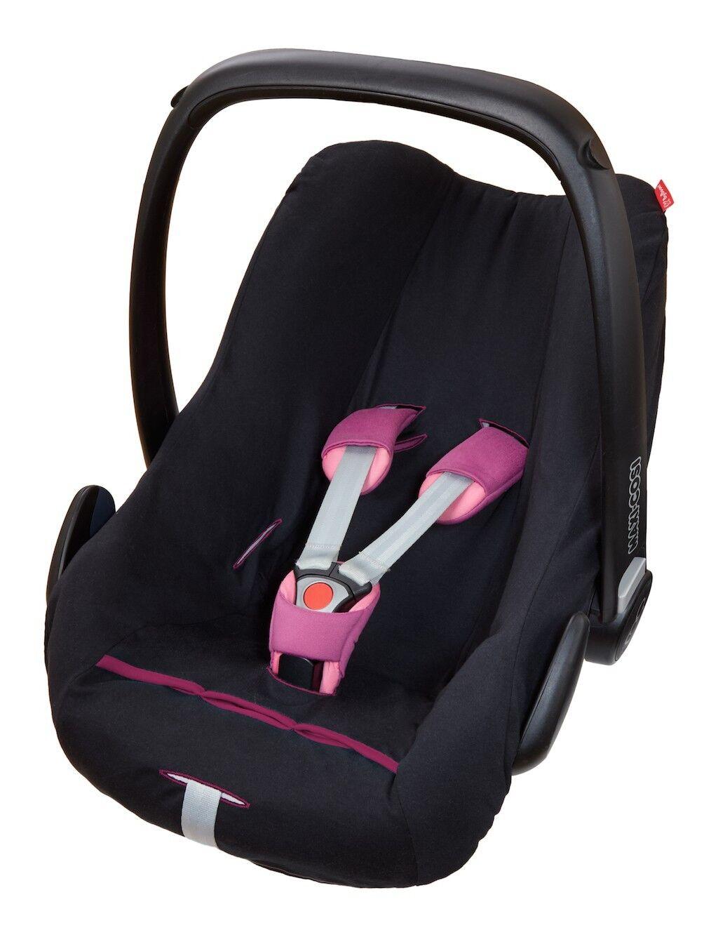 ByBoom® Universal Baumwoll Sommerbezug, Schonbezug für Babyschale z.B. Maxi Cosi Schwarz/Fuchsia