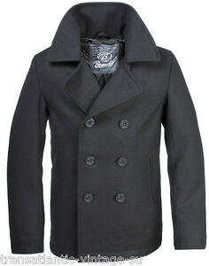 BRANDIT-CLASSIC-VINTAGE-NAVY-PEA-COAT-MENS-ARMY-REEFER-WOOL-MARINE-JACKET-BLACK