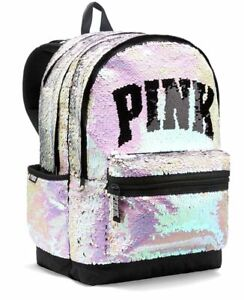 Victoria's Secret PINK Reversible Sequin Bling Campus Backpack Bag Full Size NWT