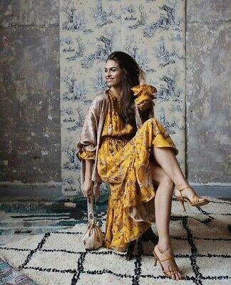 Johanna Ortiz X H&M Yellow Bird Print Crepe Maxi Dress Size Large (16/18) BNWT