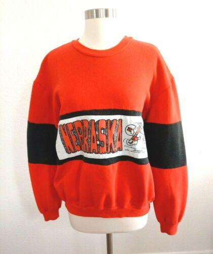 VINTAGE Peanuts Football Nebraska Sweatshirt Snoopy Nutmeg Mills