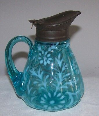 NORTHWOOD BLUE OPALESCENT DAISY & FERN SYRUP CIRCA LATE 1800'S