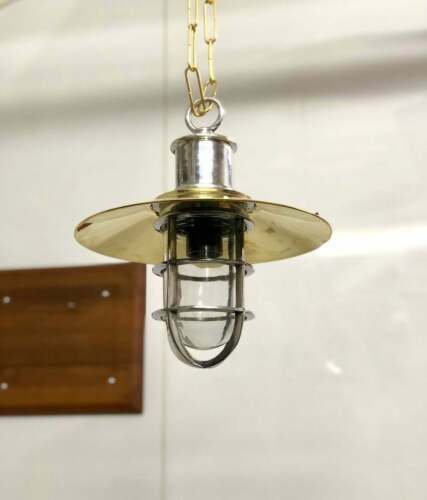Aluminum Nautical Style Hanging Cargo Pendant new Light With Brass Shade