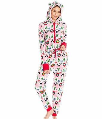 Planet Sleep Women's Fleece Christmas Pajama One Piece Party Penguin Size - Christmas Pajama Party