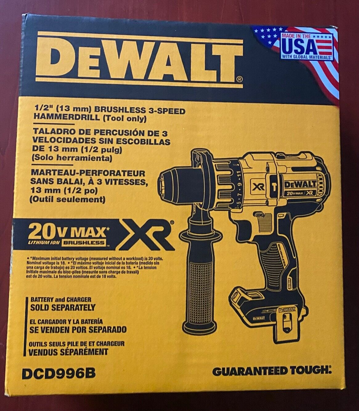 NEW DeWalt DCD996B 20V Max XR Brushless Cordless 1/2 Hammer