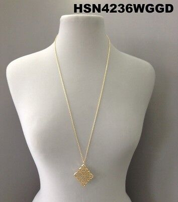 Elegant Gold Color Finish Diamond Shape Filigree Cut Design Pendant Necklace Diamond Filigree Pendant Necklace