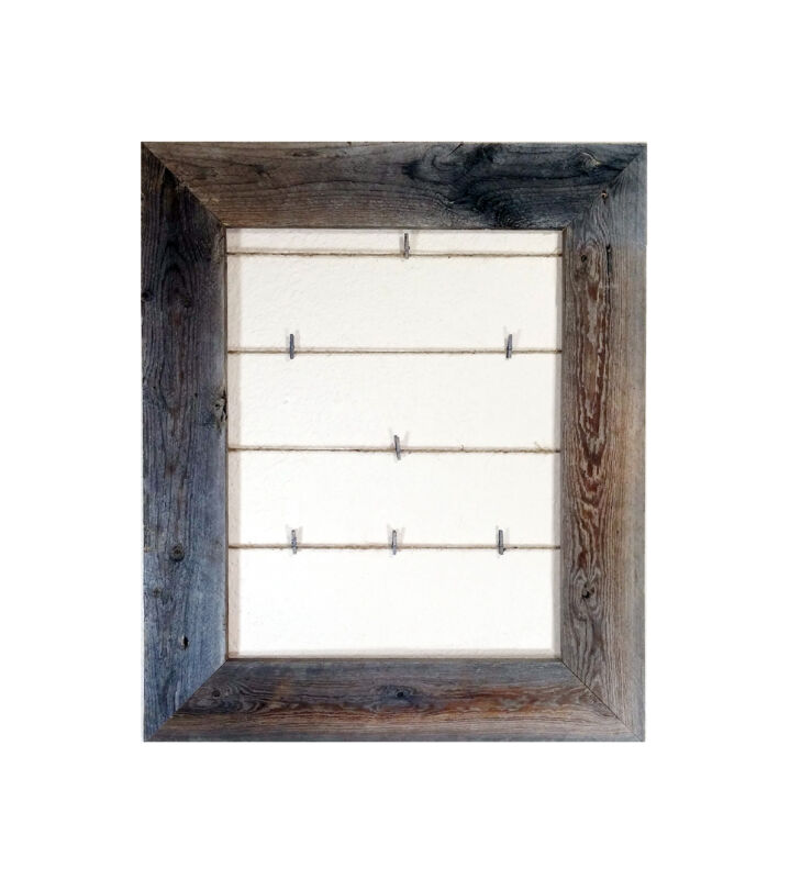 Reclaimed Rustic Barn Wood Twine Collage Photo Frame (12 Clothes Pins Included)