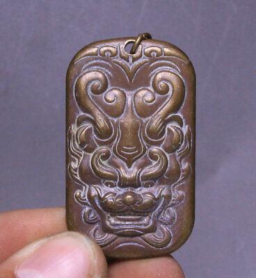 4CM Old China Bronze Fengshui 12 Zodiac Dragon king Dragons Head Amulet Pendant