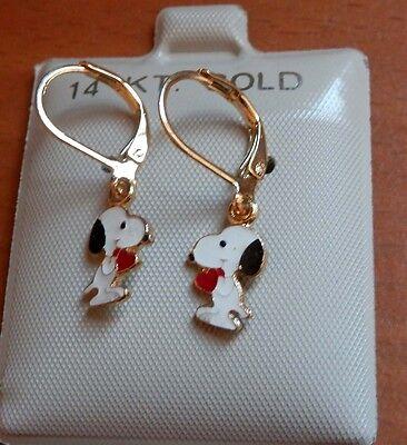 NEW 14K Gold Filled SNOOPY Dangle Earrings Kids Girls Child USA  14k Gold Filled Dangle Earrings