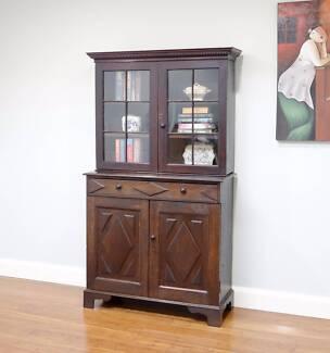 Antique Oak Circa 1820s Georgian Library Bookcase Glass Cabinet