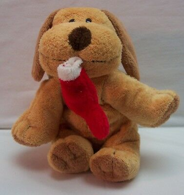 "TY Pluffies SOFT TAN PUPPY DOG W/ CHRISTMAS STOCKING 6"" Plush Stuffed Animal TOY"