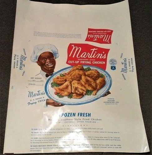 VINTAGE  BLACK AMERICANA  MARTINS FRYING CHICKEN  ADVERTISEMENT  NEW / NOS