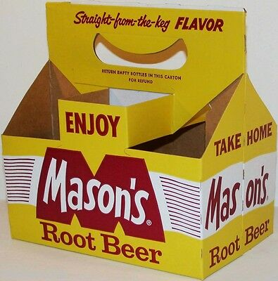 Vintage soda pop bottle carton MASONS ROOT BEER 8oz size new old stock n-mint