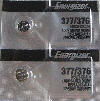 2 PCs Energizer 377 376 Watch Battery SR626SW SR626W
