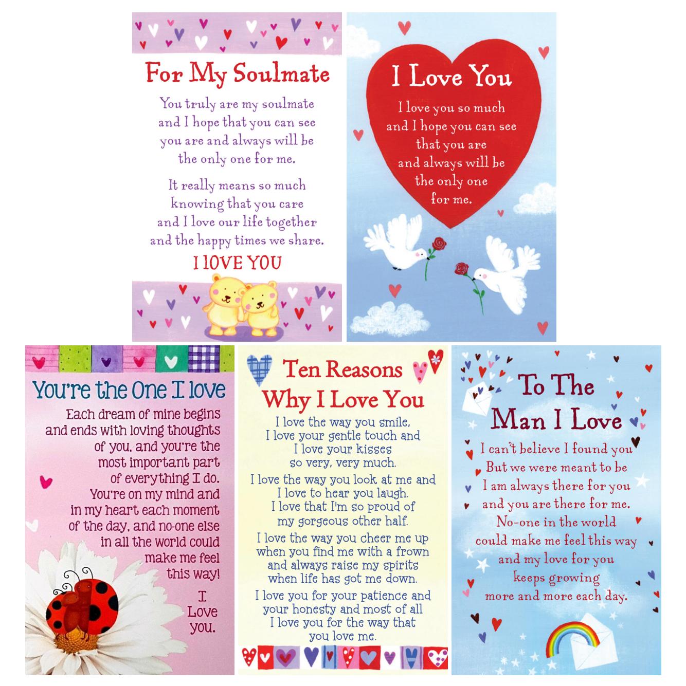 HEARTWARMERS KEEPSAKE I  LOVE YOU Wallet Card Gift Poem Verse Valentines Day