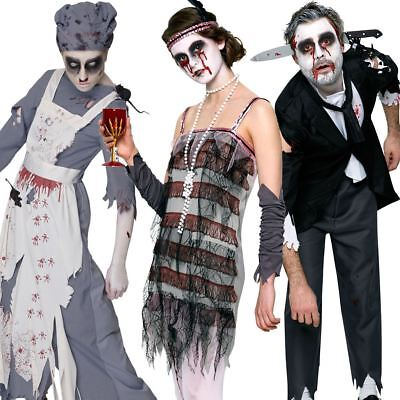 Adult Mens Ladies 20s Zombie Flapper Maid Butler Halloween Fancy Dress Costume