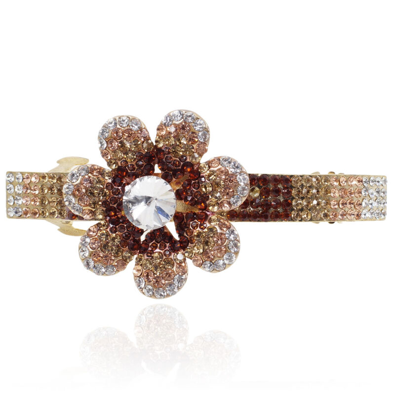 Brown Rhinestone Crystal Flower Barrette Gold Tone Hair Clip Party Gift