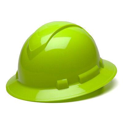 Pyramex Ridgeline High Vis Lime Green Hard Hat Full Brim Ratchet, HP54131