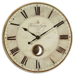 Large Gray Pendulum Wall Clock Roman Numerals 30 | Brass Exposed Traditional