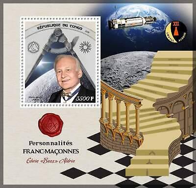 2019 MS MNH famous masons Edwin Buzz Aldrin masonics space apollo 11