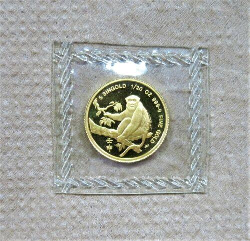 1992 Singapore 5 Singold 1/20 oz. Gold Monkey Unc.