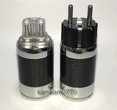 One set Vanguard Carbon Fiber Rhodium Plated IEC + Eu Schuko plug, connector