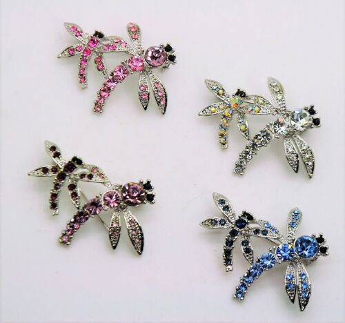 Unique Dragonfly Style colorful Rhinestone Crystal fashion Brooch Pin lot #D260