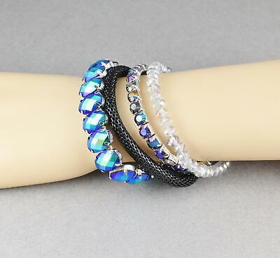Teal Black bracelet set oval faceted beads black stretch mesh set of 4 -
