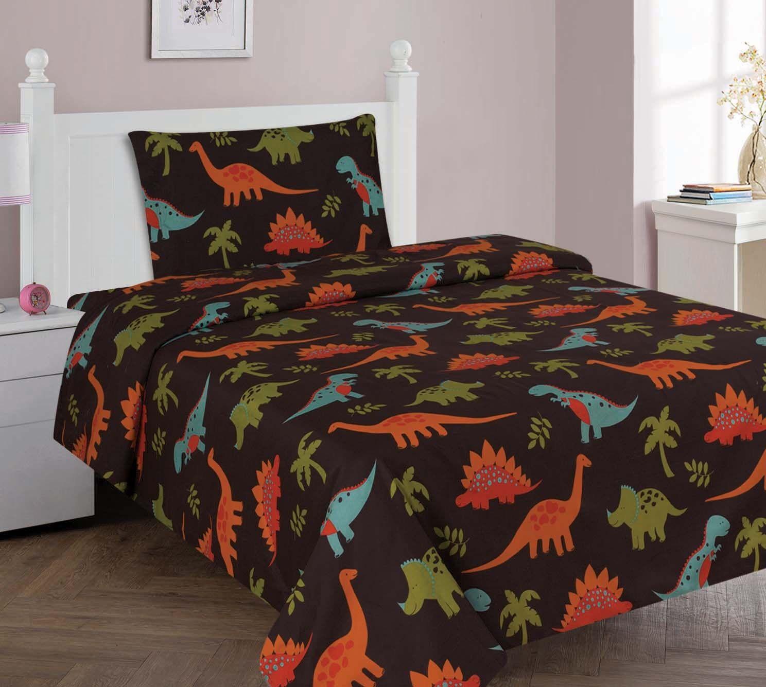 Dinosaur Brown Orange Lime Printed Sheet Set With Pillowcase