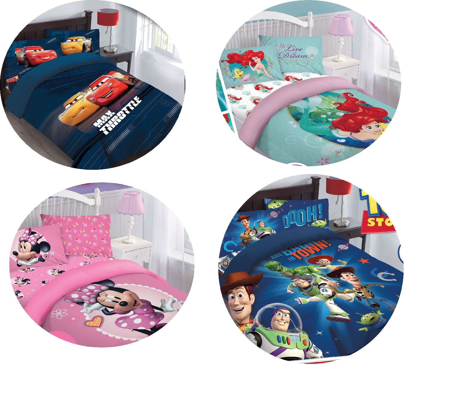 REVERSIBLE DISNEY CARTOONS BEDDING BED COMFORTER SET 3-4PC A