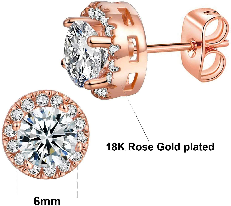 ELEGANT Earrings for Women 18k Rose Gold Plated Beautiful CZ Stud Earrings 1