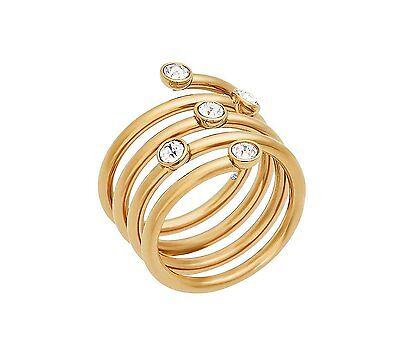 MKJ5537 Michael Kors Brilliance Swirl Ring Gold Tone W/ Crystals