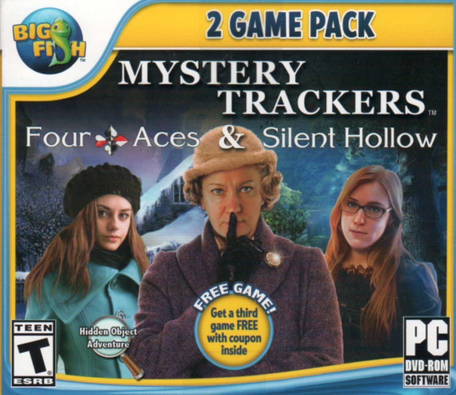 Computer Games - Mystery Trackers Four Aces & Silent Hollow PC Games Windows 10 8 7 XP Computer