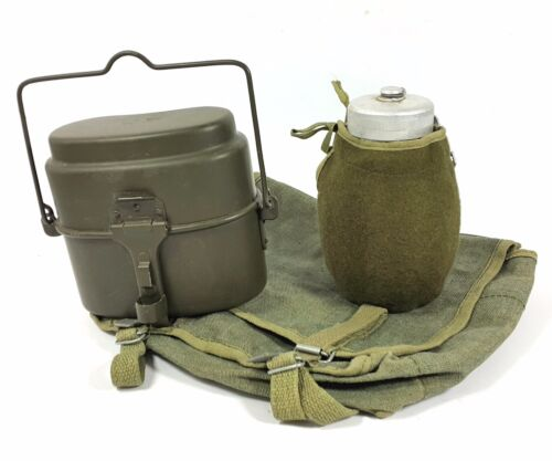 MILITARY SET CANTEEN + MESS KIT + CANVAS BAG POLISH ARMY TRANGIA CAMPING SET NEW
